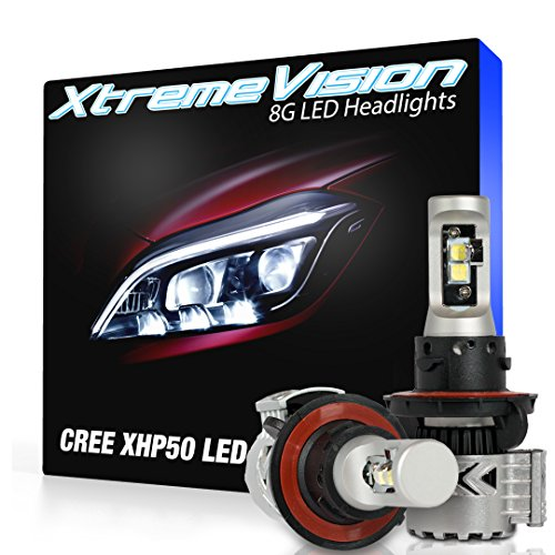 Dodge Vertical Conversion Kit - XtremeVision 8G 72W 12,000LM LED Bulb - H13/9008 Dual Beam LED Headlight Kit - 6500K XHP50 CREE LED