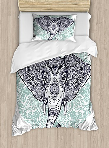 Ambesonne Elephant Mandala Duvet Cover Set Twin Size, Ethnic Tribal Floral Paisley Print Sacred Animal Head Hippie, Decorative 2 Piece Bedding Set with 1 Pillow Sham, Purple White and Blue by Ambesonne