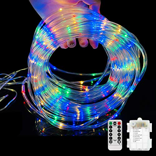 Ollivage LED Rope Lights Outdoor String Light with 120 LEDs, 8 Color Changing Waterproof LED Strip Light Battery Powered Fairy Light 40FT for Bedroom Kitchen Outdoor Party Decoration