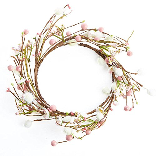 Factory Direct Craft Sweet Artificial Cherry Blossom and Mixed Berry Decorative Candle Ring for Home Decor, and Displaying