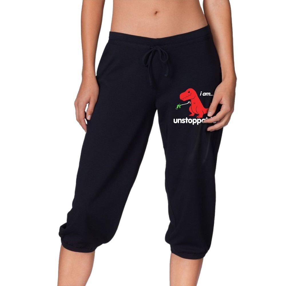 Women's Novelty Performance I Am Unstoppable Print Crop Sweatpant Capri Pants Drawstring Legging Pants Black X-Large by CNJELLAW