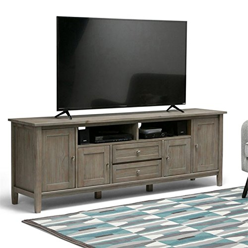 Simpli Home Warm Shaker Solid Wood 72'' TV Media Stand, Distressed Grey