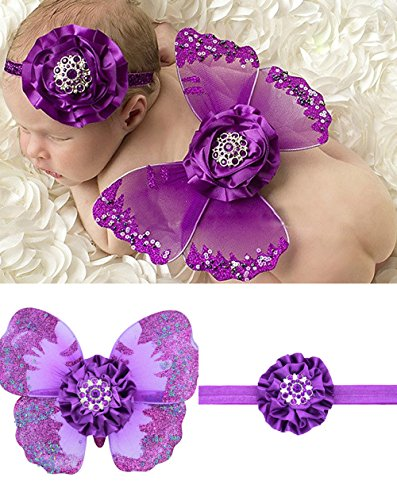 Newborn Baby White Butterfly Angel Wings with Hairband, Photography Props with Flower Halo Set (Purple)]()