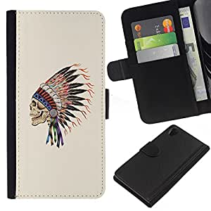 A-type (Plumas Sombrero indios nativos Jefe) Colorida Impresión Funda Cuero Monedero Caja Bolsa Cubierta Caja Piel Card Slots Para Sony Xperia Z2 D6502