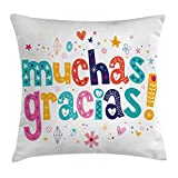 Mexican Decor Throw Pillow Cushion Cover by Ambesonne, Spanish Thank You Quote with Cartoon Style Hearts Diamonds Flowers Artwork, Decorative Square Accent Pillow Case, 16 X 16 Inches, Multicolor
