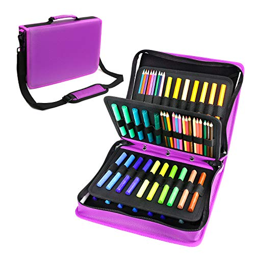 YOUSHARES Colored Pencil & Gel Pen Case in Large Flexible Slot - PU Leather Colored Pencil Case with Zipper Holds 180 Colored Pencils or 140 Gel Pens - for Watercolor Pencils, Gel Pens(Purple) ()