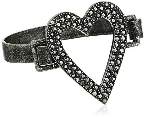 Steve Madden Women's Open Heart Design Gunmetal-Tone Bangle Bracelet - Bangle Gunmetal Bracelet