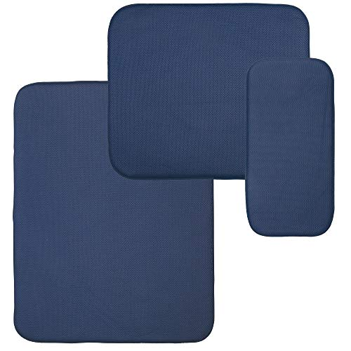 mDesign Absorbent Kitchen Countertop Dish Drying Mat - Set of 3, Navy Blue/White