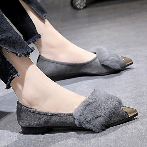 Shoes 5 Women's apricot EUR36 Fashion Boots Shallow Shoes Color Square the Fight with Head Mouth nO8w0x7q6v