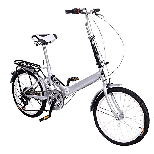 Folding Storage Bike 6 Speed 20inch Alloy Wheel Steel Frame Bicycle Double Disk Brake (Silver)