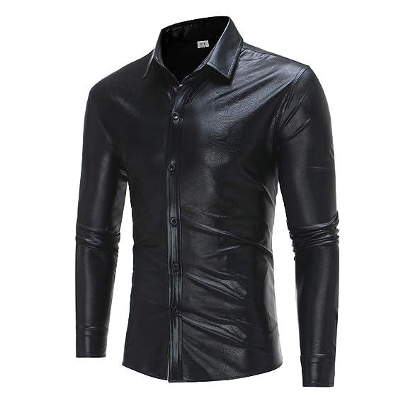 Yvelands Camisa de Manga Larga con Estampado Casual de los Hombres Fashion Personalizada Estampado en Caliente