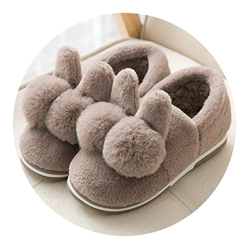 Cotton Slippers Female Winter,Bag with Coffee,37/38 (Suitable for 37-38)