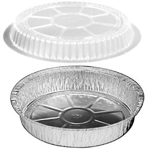 9'' Round Foil Take-Out/Cake Pan w/Clear Dome Lid 500/PK - Aluminum Containers by Osislon Series