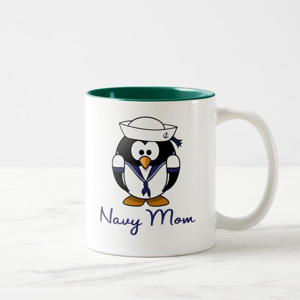 ZazzleペンギンNavy Mom旅行マグ 11 oz, Two-Tone Mug グリーン 36063079-5942-c216-d1af-4d0e0bbf3bc6 B0788GPG7R 11 oz, Two-Tone Mug|ハンターグリーン ハンターグリーン 11 oz, Two-Tone Mug
