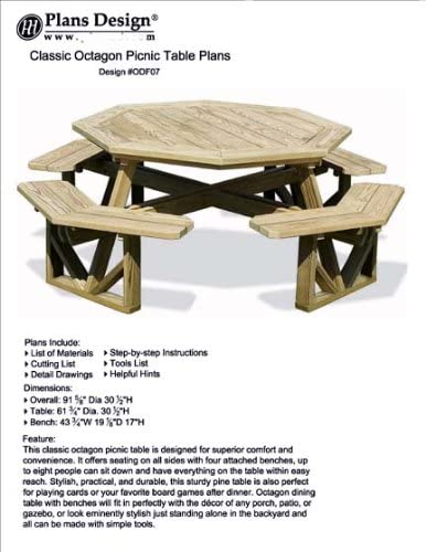Classic Large Octagon Picnic Table / Bench Woodworking Project Plans  Pattern #ODF07