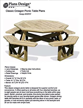 Classic Large Octagon Picnic Table Bench Woodworking Project Plans Pattern Odf07