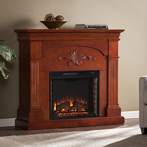 SEI Sicilian Harvest Electric Fireplace, Mahogany - Mahogany Fireplace Mantel