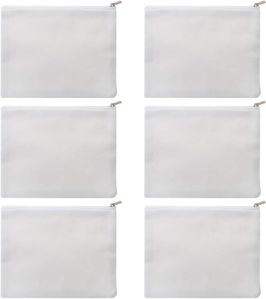 Aspire Sacs /à fermeture /éclair en toile de coton Trousse de toilette /Étuis /à crayons 12 oz 8 x 6 6 paquets Noir