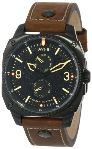 avi-8-mens-av-4010-03-hawker-hunter-black-ion-plated-stainless-steel-and-brown-leather-strap-watch