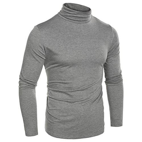 CRAVOG Camisetas para Hombres de Cuello Alto con Manga Larga 28dfe32e350