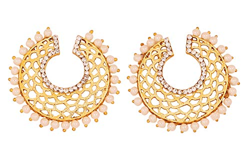 af54567d1 Touchstone Indian Bollywood Diamante Faux Pearls Filigree Designer Jewelry  Earrings in Antique Gold Tone