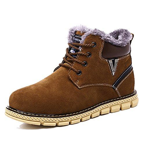 LILY999 Stivali da Neve Scarpe Stivaletti Uomo Pelle Inverno Stringate Basse Snow Boots Marrone