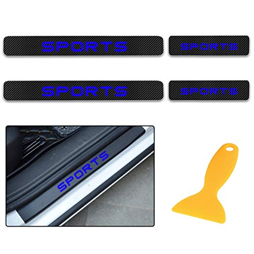 for Benz A B C E G M S CL CLA CLK CLS CL CLA CLK CLS GL GLK SL SLK AMG Carbon Fiber Door Sill Protector Scratch Door Sill Guard 4D Welcome Pedals Guards Threshold Sticker Sticker Blue 4Pcs