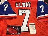 John Elway Autographed Signed Orang Denver Broncos Custom Jersey JSA Witnessed COA & Hologram