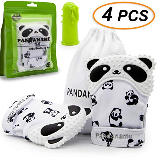 Baby Teething Mitten Panda Teether Mitten with Baby Toothbrush & Massager Teething Glove Mitt Infant Toy(2 Mittens with Toothbrush)