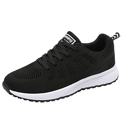 (JARLIF Women's Breathable Fashion Walking Sneakers Lightweight Athletic Tennis Running Shoes (8.5 B(M), Black))