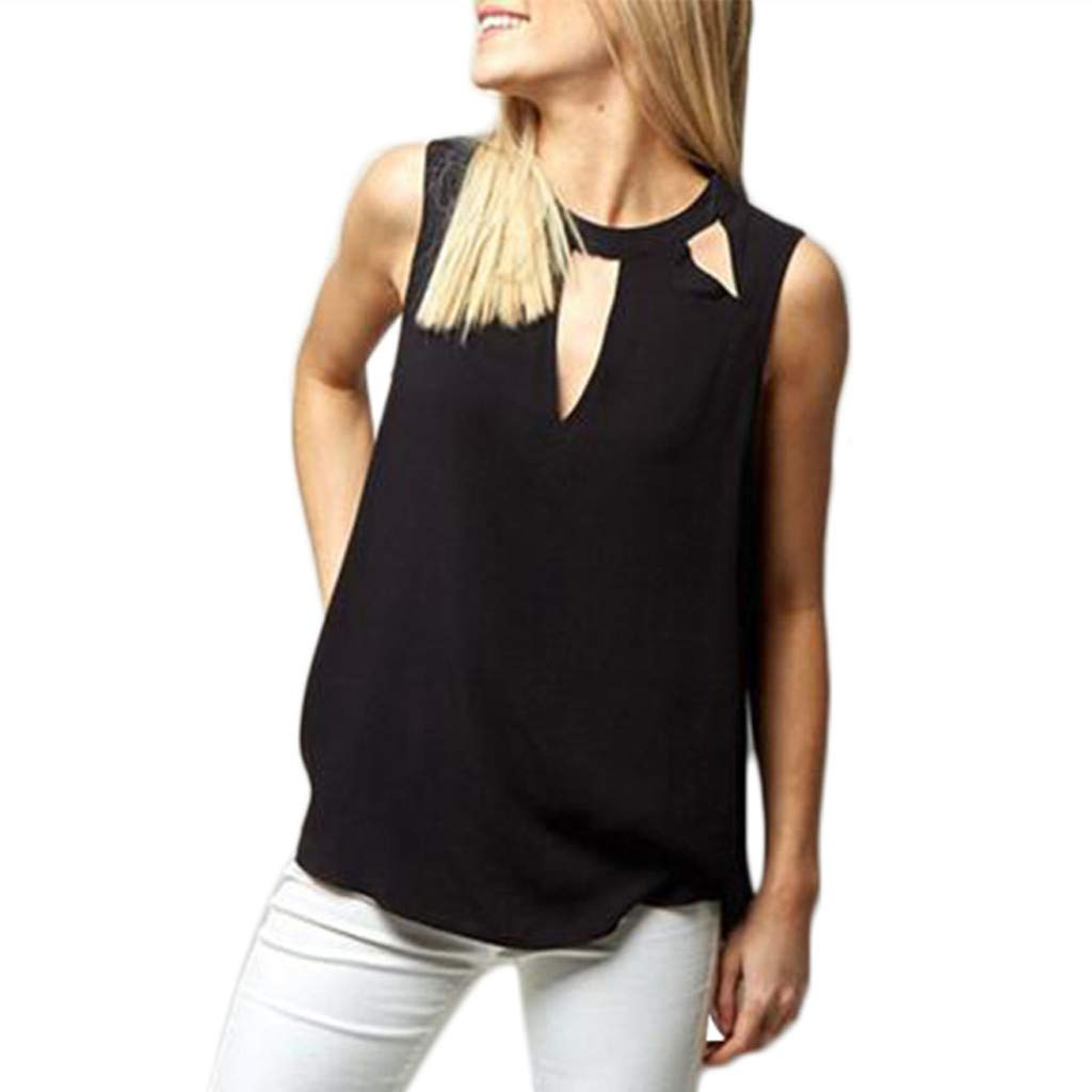 NUWFOR Fashion Women Sexy Solid O-Neck Hollow Out Sleeveless Casual Crop Tank Top(Black,US XS Bust:30.65'')