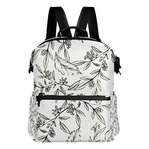 TARTINY Black White Seamless Floral Pattern Twigs Laptop Backpack Leather Strap School Bag Outdoor Travel Casual Daypack
