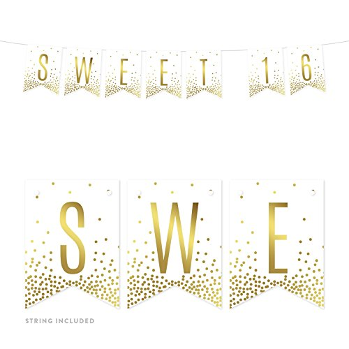 Andaz Press Metallic Gold Confetti Polka Dots on White Birthday Party Banner Decorations, Sweet 16, Approx 5-Feet, 1-Set, 16th Birthday Colored Themed Hanging Pennant Decor -