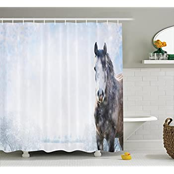 Ambesonne Farm House Decor Shower Curtain Set Gray Horse On Winter Landscape With Snowfall In Wilderness Royal Animal Nature Bathroom Accessories