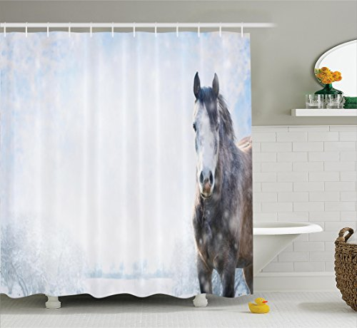 Farm House Decor Shower Curtain Set By Ambesonne, Gray Horse On Winter Landscape With Snowfall In Wilderness Royal Animal In Nature, Bathroom Accessories, 69W X 70L Inches, White Brown