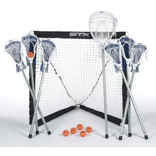 STX FiddleSTX Seven Player Game Set with Six Field Player Sticks One Goalie Stick Mini Goal and -