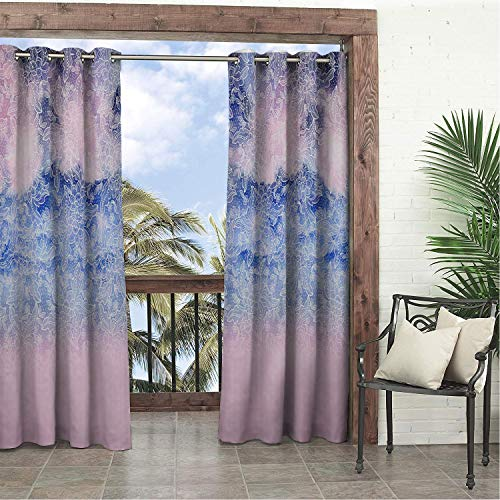 Linhomedecor Garden Waterproof Curtains Ombre Beautiful Lace Porch Grommets Print Curtains 96 by 108 inch