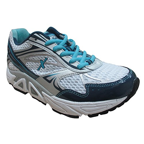 Xelero Genesis Womens Comfort Terapeutico Extra Profondità Sneaker Scarpa Pelle / Mesh Stringata Bianco / Blu