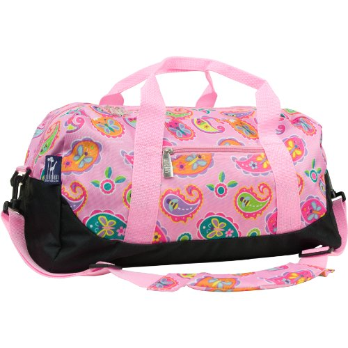 Wildkin Overnighter Duffel Bag, Features Moisture-Resistant Lining and Padded Shoulder Strap, Perfect for Sleepovers, Sports Practice, and Travel, Olive Kids Design - Paisley