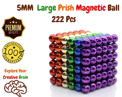 (2019 Upgraded) DIY Magnet Balls Desk Toys, 222, 5MM Magnetic Sculpture Building Blocks Bucky Balls for Intelligence, Stress Relief for ADHD, Autism, Anxiety & Gift for Adults, Children Bead