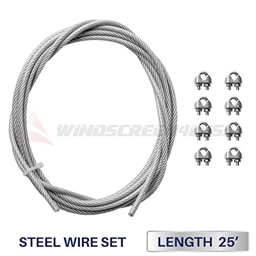Windscreen4less Shade Sail Wire Rope and 8 Pcs Clips, Vinyl Coated Wire Cable Galvanized Metal Clamp, 3/16-Inch x 25 Feet