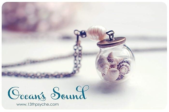 Orbe de cristal conchas collar, collar de Orbe, collar, colgante de concha,