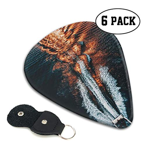 TONFQW Classic Celluloid Guitar Picks, Canoe,6 Pack,3 Different Sizes Light/Thin, Medium, Heavy/Thick