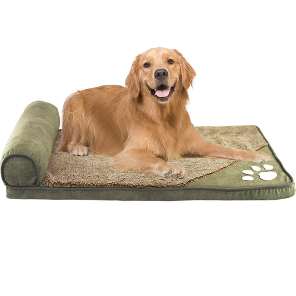 Green L Green L Pet Dog Bed Deluxe Bolster Design Removable Washable Large Lounge Sofa Pet Bed For Dogs & Cats,Green,L