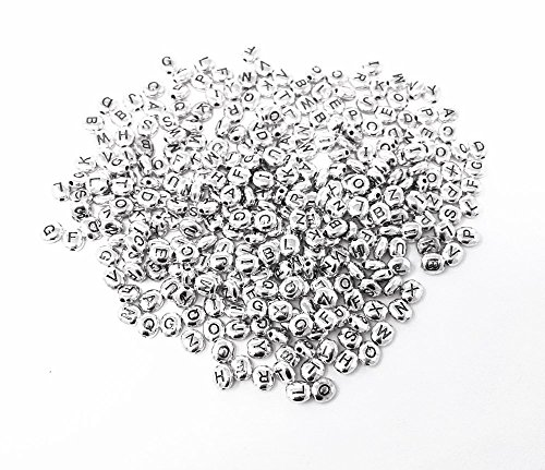 Metal Silver Letter Beads (Honbay 300pcs 6mm Oval Alloy Metal Silver Alphabet Letter Spacer Beads Loose Beads)