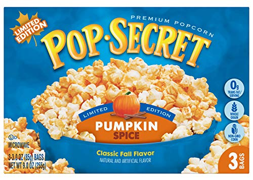 Pop Secret Limited Edition Pumpkin Spice Popcorn! Microwave Popcorn 3 Bags! Whole Grain Snack Made With Non-Gmo Corn And 0g Trans Fat! Enjoy The Flavor Of Fresh Pumpkin Pie Anytime Or Anywhere!