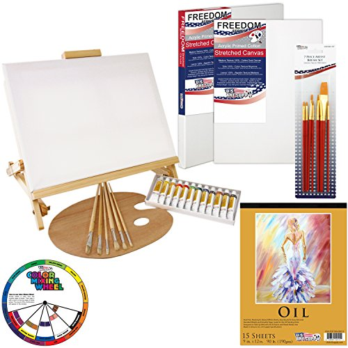U.S. Art Supply 35-Piece Oil Painting Table Easel Set with, Oil Paint Colors, 11