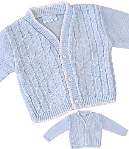 BabyPrem Baby Boy's Cardigan Jacket Acrylic Blue Cable Knit 0-18 mths 12-18