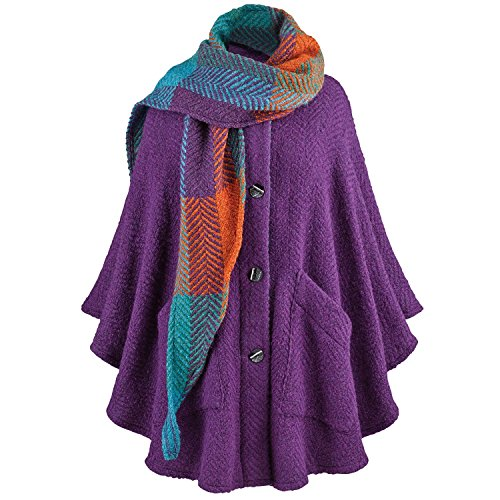 BRANIGAN WEAVERS Purple Cape & Scarf - Alpaca Wool Boucle Handmade in (Alpaca Boucle Scarf)