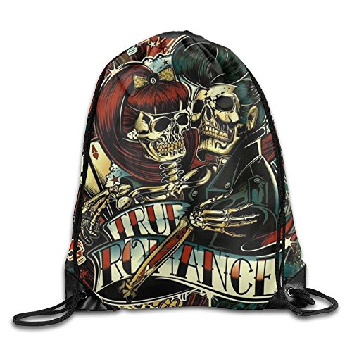 Skull Drawstring Backpack (Sugar Flower Skull Kawaii Women Drawstring Backpack Heavy Duty Sports Backpack Gymnastics)